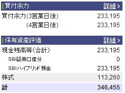 2013年2月10日の資産状況株